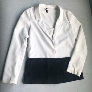 Black and White Colorblocked Blazer